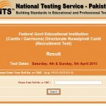 NTS has Announced the Result of Test for FGEI Vacancies 2015