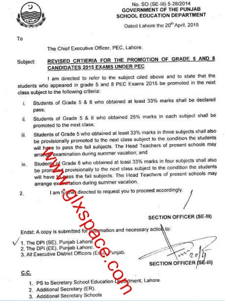 Revised Criteria for the Promotion of Grade 5 and Grade 8 Candidates 2015 Exams under PEC