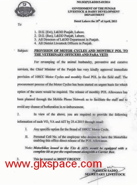 Provision of Motorcycles and Monthly POL to the Veterenary Officers and PARA Vets
