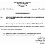 Amendment in Notification of Grant of Special pay @20% of Basic Pay All federal Secretaries