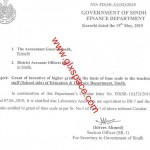 Grant of Time Scale to Lab Assistants of Sindh Education Department