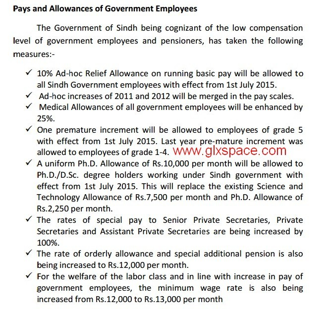 Relief Measures Sindh Employees