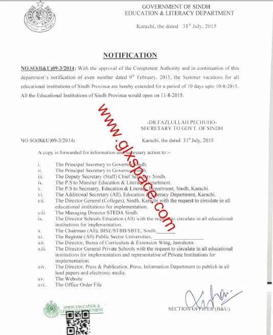 Extension Summer Vacation 2015 Sindh