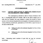 Notification of Family Pension to Widowed Daughter and Divorced Daughter-Federal Govt