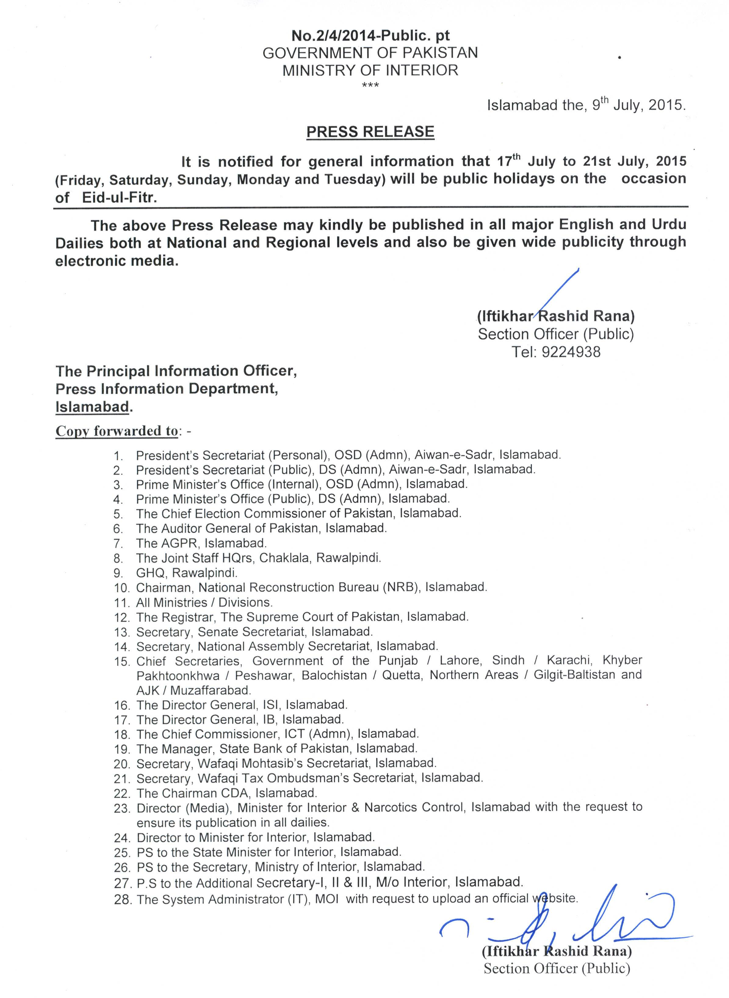 Notification of Eid-ul-Fitr Holidays 2015