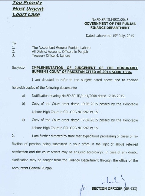 Notification of Pension Case