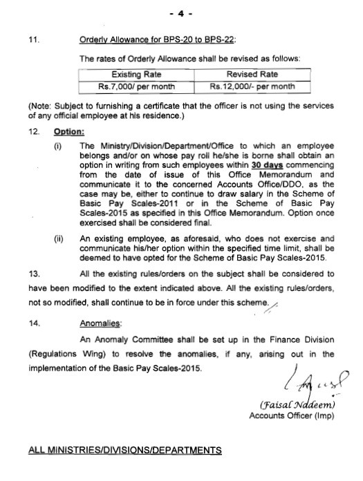 Notification Of Revised Pay Scales 2015