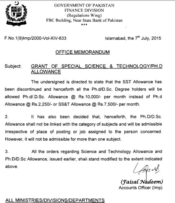 Ph.D & Special Science Allowance