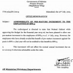Notification of Grant of Premature Increment to the Employees of BPS-05