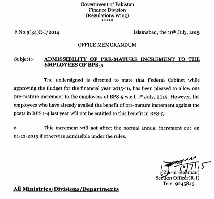 Premature Increment BPS-05