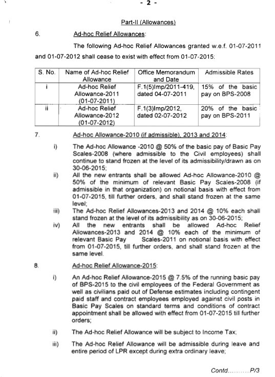 Revised Pay Scales 2015 Notification