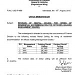 Notification of Revision of Rental Ceiling for Hiring of Residential Accommodation for the Officers Holding Management Grades