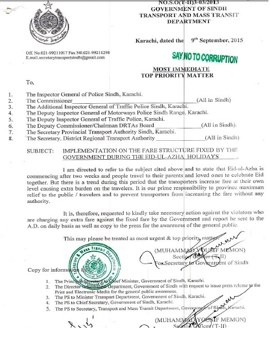 Control of Transport Fares on the Occasion of Eid-ul-Azha