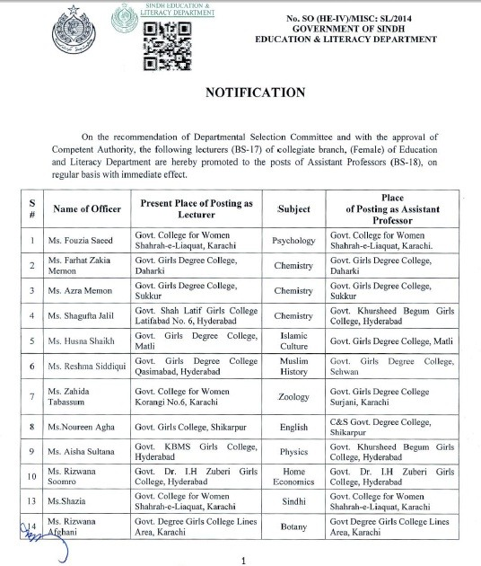 Promotion of Lecturers Sindh