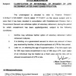 Notification of Clarification of Withdrawal of Request of LPR/Retirement after Notification/Sanction