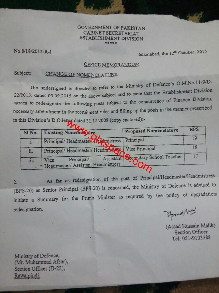 Redesignation of Posts of Principals