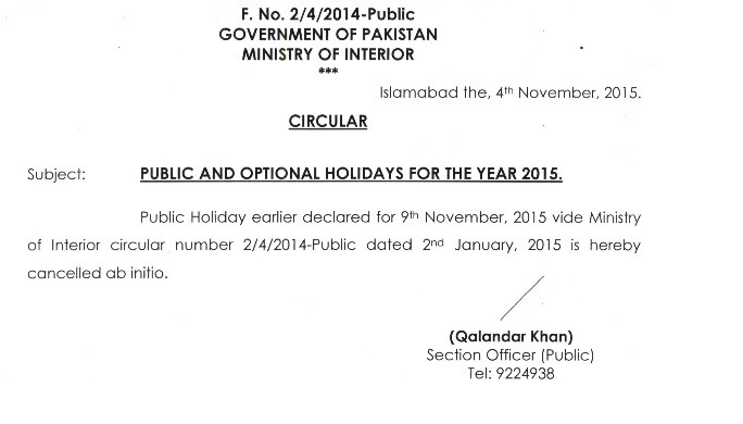 Cancellation of Iqbal Day Holiday