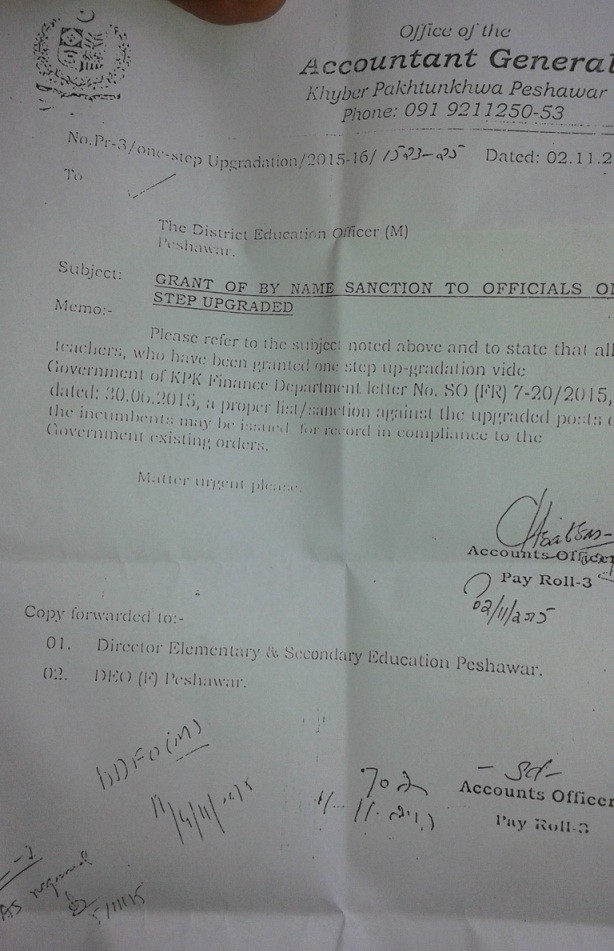One Scale Upgradation KPK Teachers