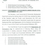 Notification of Transitional Arrangements under Punjab Local Govt Act 2013