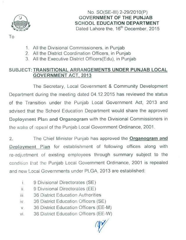 Transitional Arrangements under Punjab Local Govt Act 2013