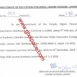 Winter Vacation 2015-Directorate of Colleges Lahore Notification