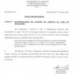 Notification of Determination of Length of Service in Case of Repeaters