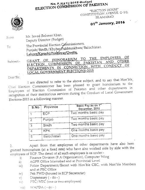 Grant of Honorarium to ECP Employees
