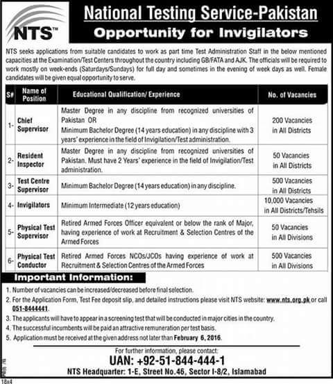 Invigilators vacancies NTS