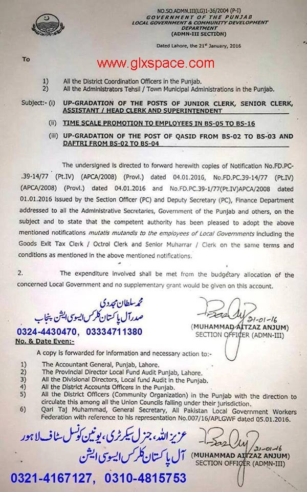 Upgradation of Clerical Staff & Time Scale