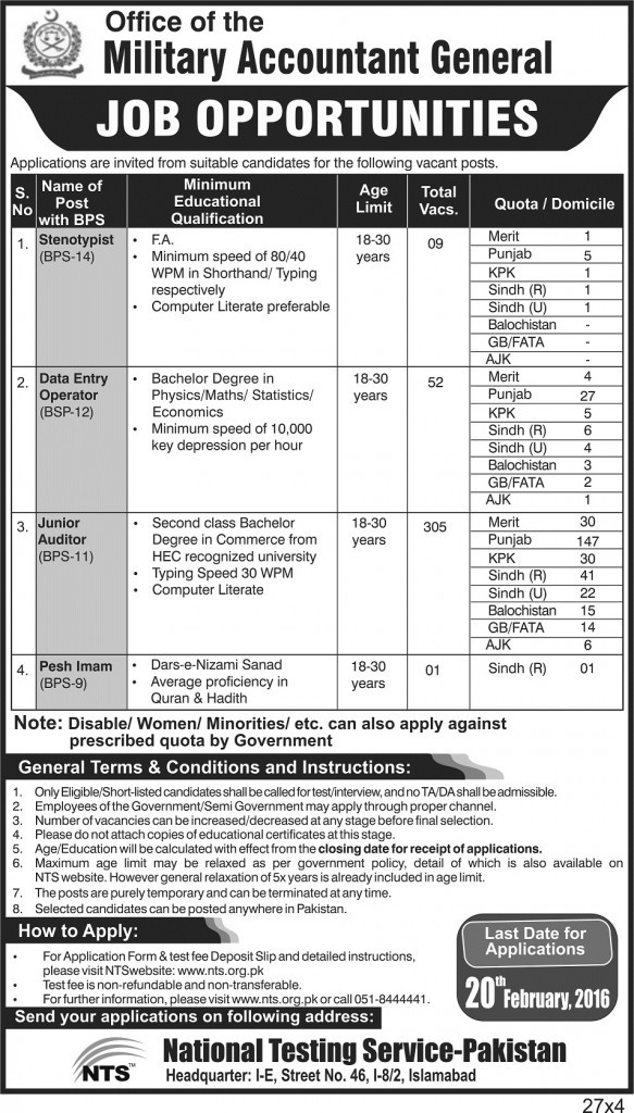 Vacancies in Military Accountant General
