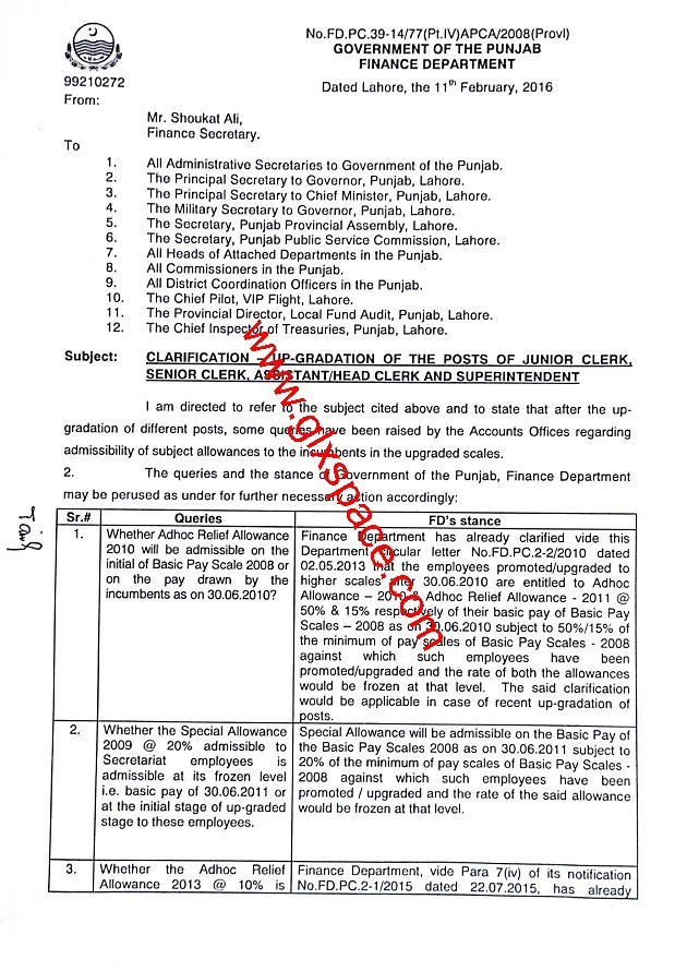 Clarification of Upgradation of Junior Clerk & Senior Clerk