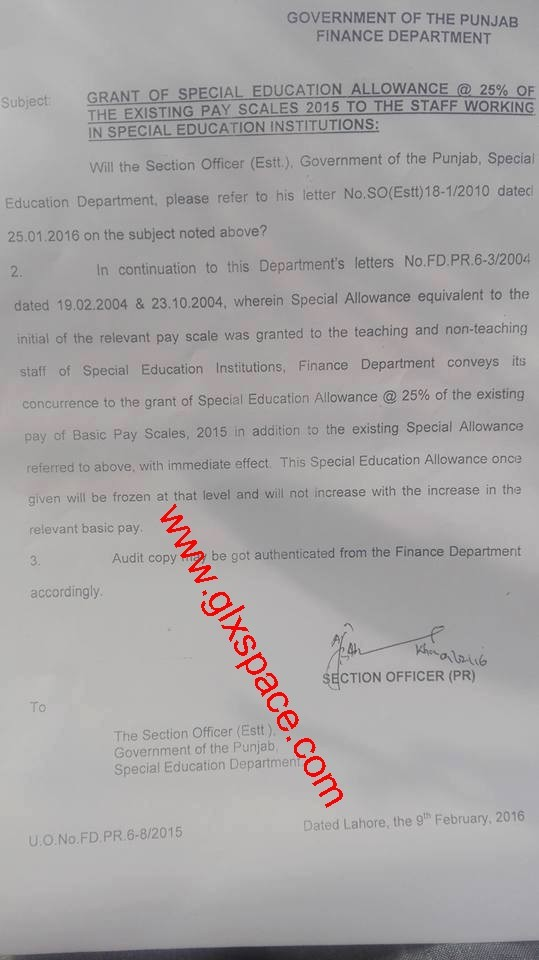 Notification of Special Education Allowance