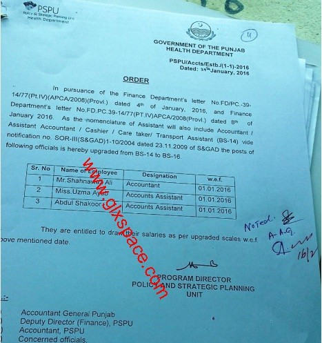 Upgradation of the Post of Accountant
