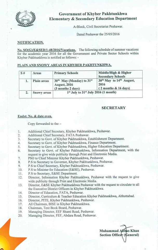 Summer Vacation 2016 in KPK