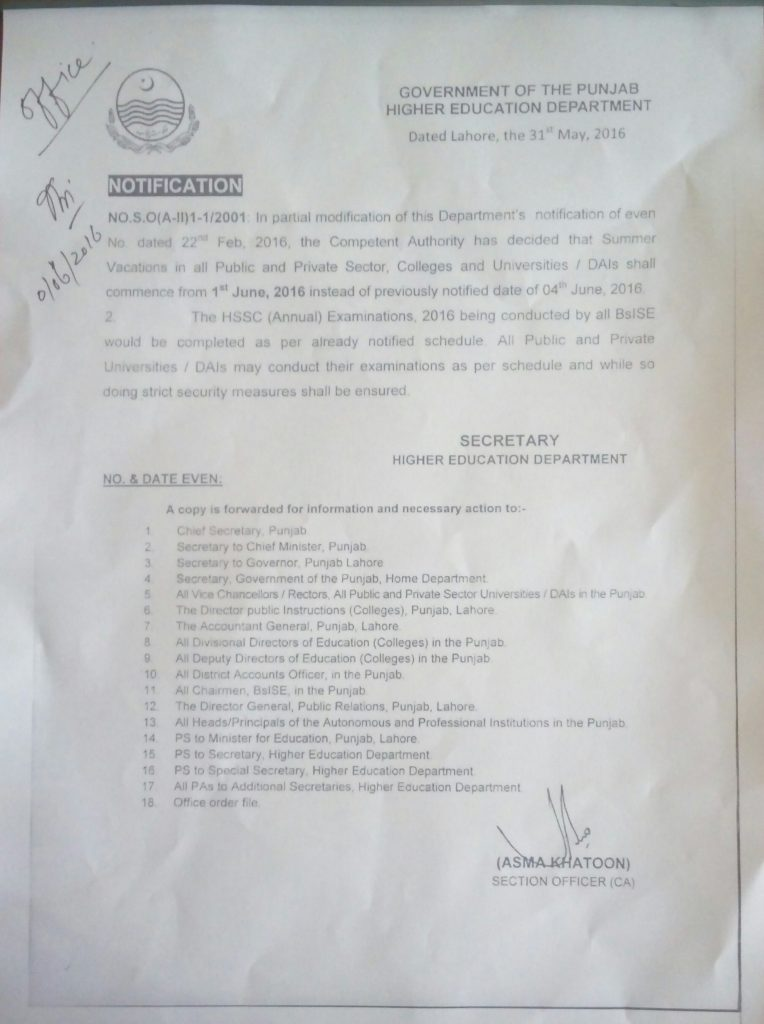 Summer Vacation Notification Punjab