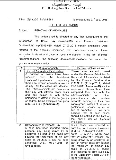 Notification of Removal of Anomalies