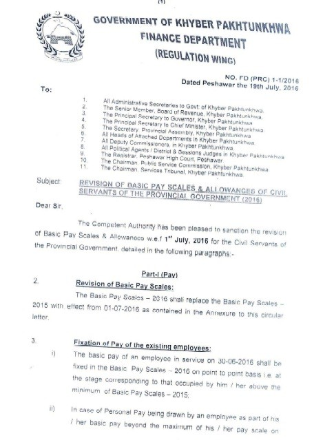 Notification of Revised Pay Scales 2016 KPK
