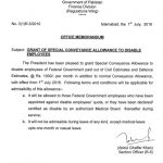 Notification of Special Conveyance Allowance to Special Employees