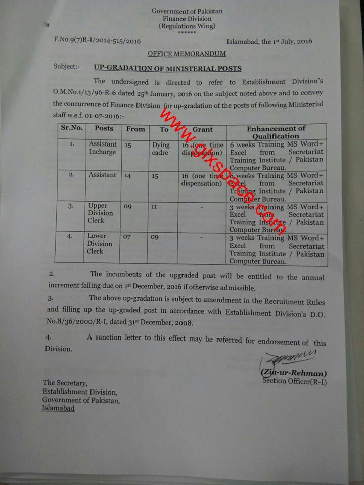 Upgradation Clerical