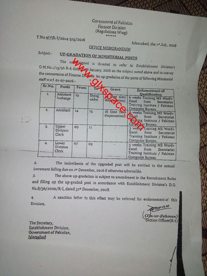 Upgradation of Clerical Staff Federal Govt