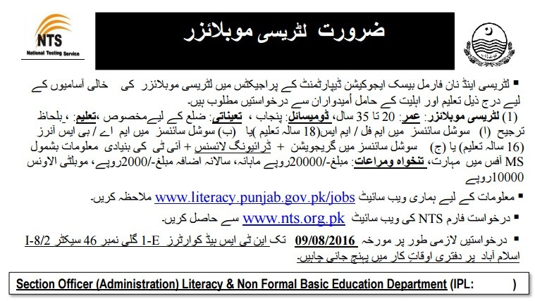Vacancies of Literacy Mobilisers in All Districts of Punjab