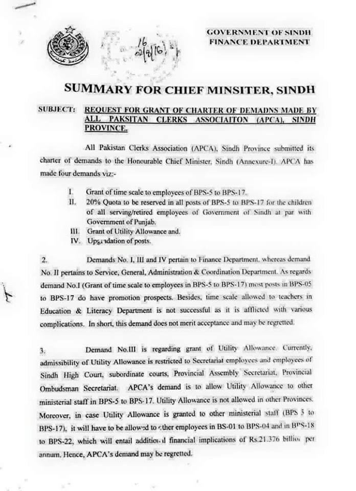 Approved Summary of Upgradation of Clerical Staff Sindh