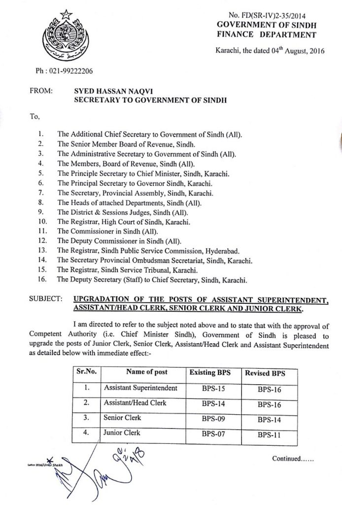 Notification Upgradation Clerical Staff Sindh