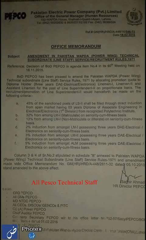 Quota for Promotion of WAPDA Line Staff