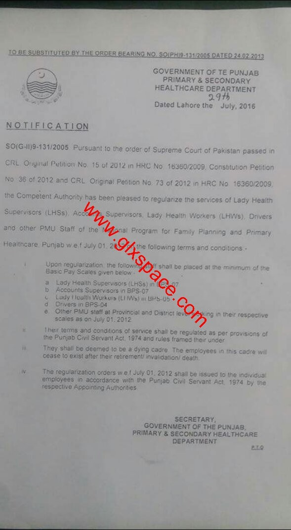 Notification of Regularization of Lady Health Workers Punjab