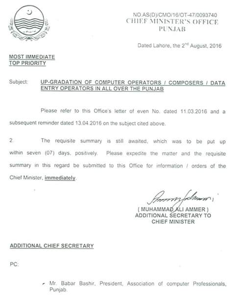Reminder Upgradation of Computer Operators
