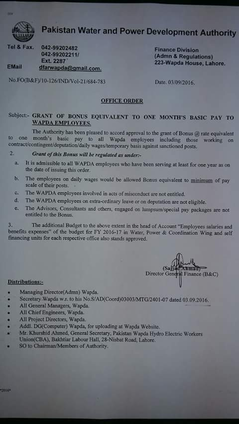 Bonus Equivalent to One Month Basic Pay WAPDA