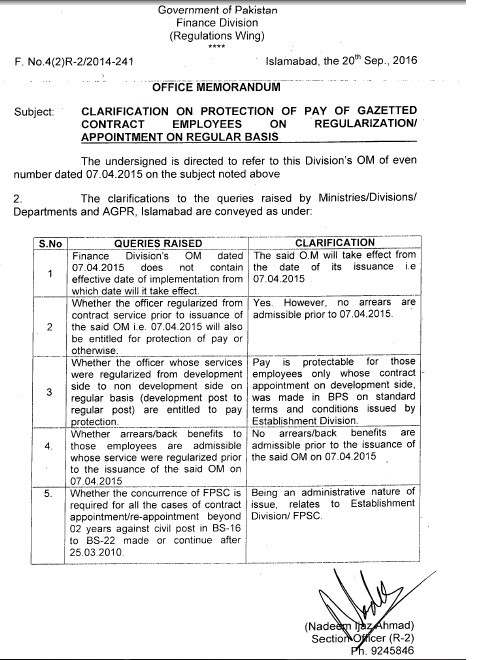Pay Protection Clarification on Regularization