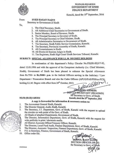 Special Allowance for LLM Degree Holders Sindh