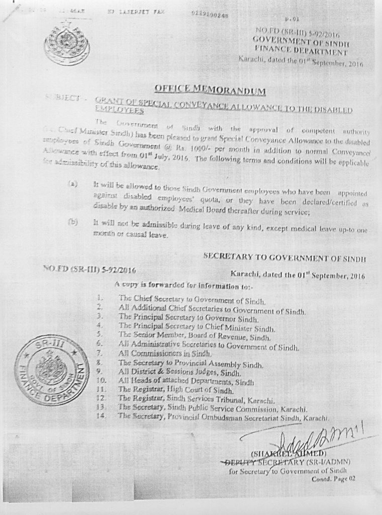 Notification of Special Conveyance Allowance Sindh Govt Disabled Employees